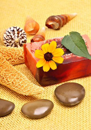 kamille: Handmade natural soap, shells and pebbles