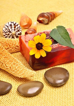 kamille: Handmade natural soap, shells and pebbles