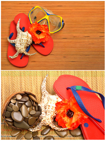 Mask, seashell, flower and flip flop sandals on the wood. Collage photo