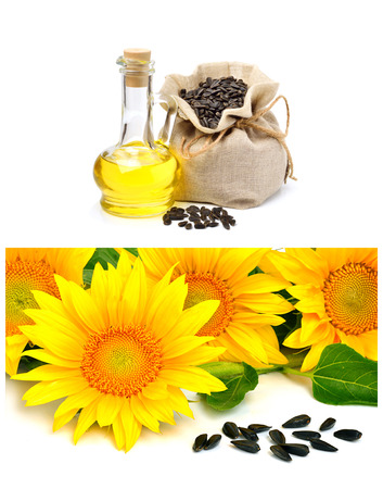 vegetable oil: Carafe with vegetable oil and sunflowers isolated on the white background. Collage Stock Photo