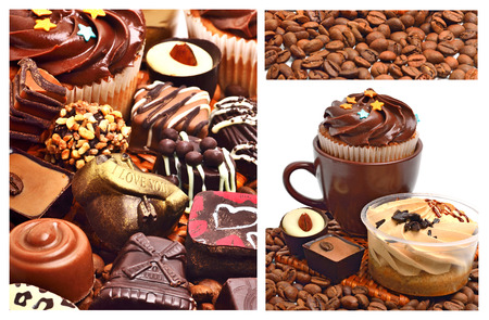 chocolate sweets, muffins and coffee beans isolated on white. Collage photo