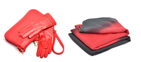 spliced: Stylish woman coral bag, gloves and a scarf isolated on white background. Collage