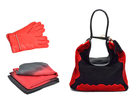 Stylish woman coral bag, gloves and a scarf isolated on white background. Collage photo
