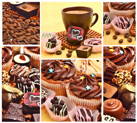 Various chocolate sweets, muffins and coffee grains background. Valentines day. Collage photo