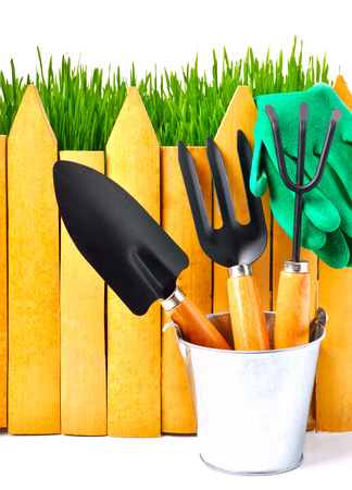 rubber gloves: rake, shovel, rubber gloves in the pot against the wooden fence isolated on white Stock Photo