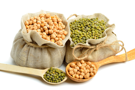 leguminous: chick-pea, mung beans in the sacks and spoon wooden  isolated on white background