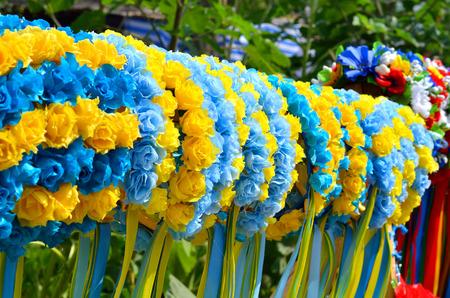 trade fair: Many traditional ukrainian wreath in trade fair Stock Photo