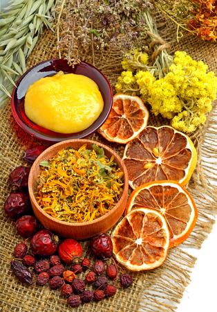 helthcare: Сalendula flower, oats, immortelle flower, tansy herb, honey, wild rose, dried lemon on s