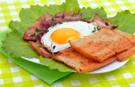 english cucumber: English breakfast -  egg, toast, bacon and vegetables on a green napkin