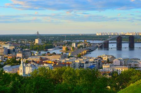 kiev: Kiev cityscape and Dnieper river, Ukraine Stock Photo