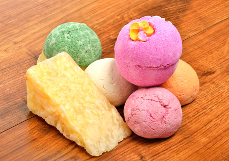 natural soap: Natural soap,  bath bombs on the wooden background Stock Photo