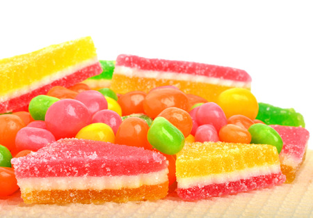 dragee: fruit candies, sweet dragee, gums isolated on white