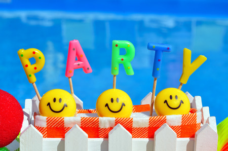 party decoration: Party decorations on the swimming pool background