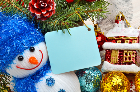 pinetree: Christmas decoration with snowman, christmas baubles and pinetree Stock Photo