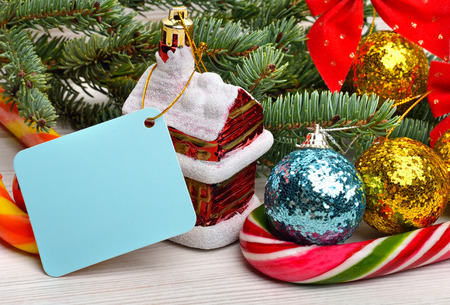 pinetree: Christmas decoration with house, christmas baubles and pinetree Stock Photo