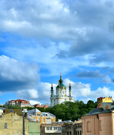 bartolomeo rastrelli: Golden Domes of Saint Andrews Church in Kiev against the dramatic sky. The capital of Ukraine - Kyiv.