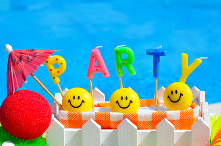 surprise party: Party decoration on the swimming pool background