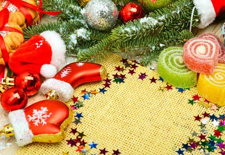 Christmas background, lollipops, pine twig, sweets, jellies