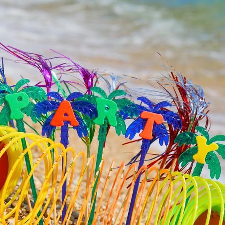 Party on the golden sand on the seashore.                       Standard-Bild