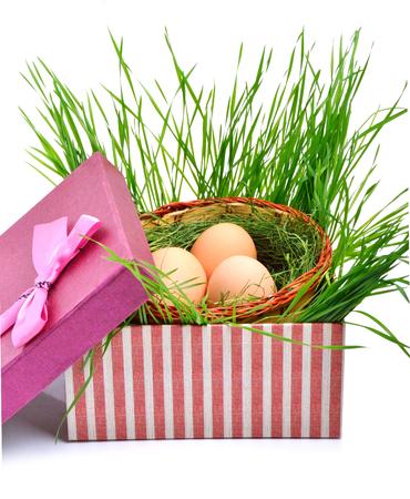Grünes Nest mit Eiern in der Geschenkbox lokalisiert auf Weiß Standard-Bild - 95095428