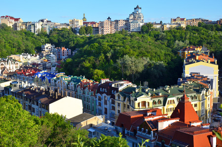 Kiev, Ukraine. Old houses on the St. Andrew's Descent street in Kyiv