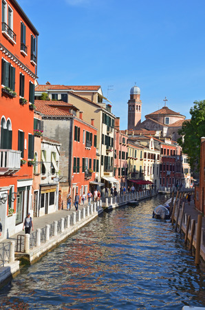 Venetian canals in summer sunny day. Italy. Venice. Stock Photo