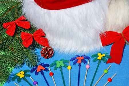 Santa Claus hat on a branch of spruce and toys opposite the pool.