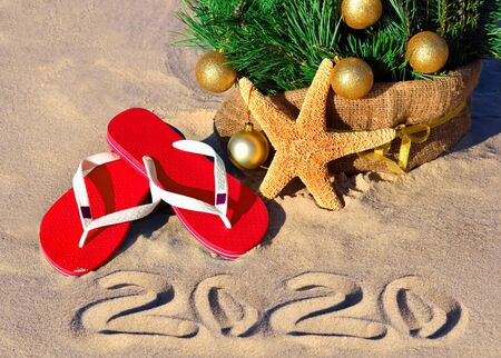 New Year 2020 on the beach. Christmas tree, starfish and slippers in sand