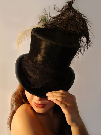 beautiful girl with old hat black