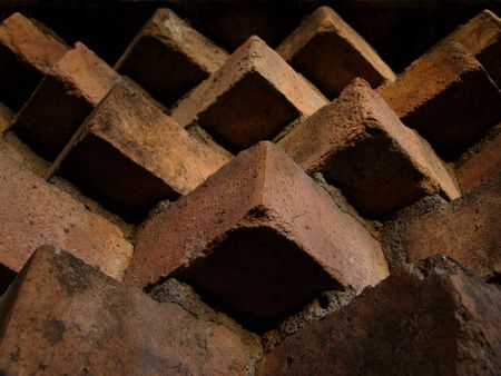 view attached brick wall under construction                       Stock Photo
