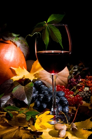 Autumn crop with red wine  isolated on black photo