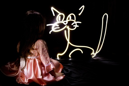 Little pretty girl with painting  cat photo