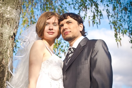 Beautiful young bride and groom near the tree photo