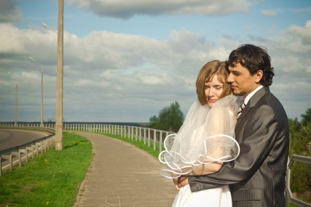 Happy young bride and groom photo