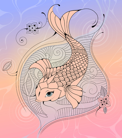 carp fish: Koi Carp Fish in a Pond Asian Style Tattoo Sketch Illustration