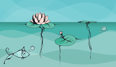 zenlike: Outline drawing of lotus floating on the lake surface with view of underwater part. Drawing is created in style of Asian ink art.