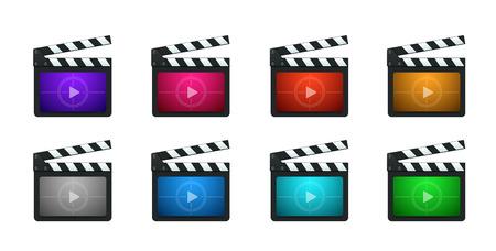 video still: Movie Production Clapboard in 8 Vivid Color Variations. Illustration