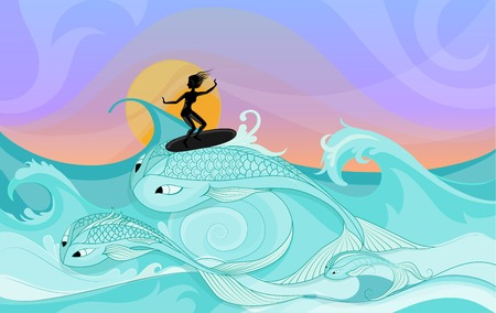 silhouette of young female surfer riding on ocean waves stylized as fantasy big fishes. Cartoon-style fantasy illustration. Illustration can be used with and without surfer figure.