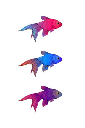 guppy: ink-stylized little colorful aquarium fishes isolated on white