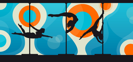 pole dance: Black silhouettes of female pole dancers performing pole moves on abstract background. Illustration