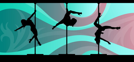 striptease: Black silhouettes of female pole dancers performing pole moves on abstract background. Illustration