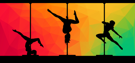 striptease women: Black silhouettes of female pole dancers performing pole moves on abstract background. Illustration