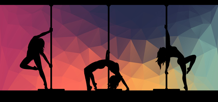 exotic dancer: Black silhouettes of female pole dancers performing pole moves on abstract background. Illustration