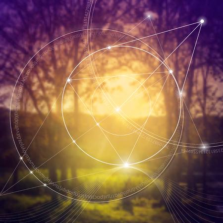 Heilige geometrie. Wiskunde, natuur en spiritualiteit in de natuur. De formule van de natuur. Er is geen begin en geen einde van het heelal, en geen begin en geen einde van het Leven en de Bliss. Stock Illustratie
