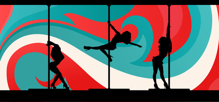 pole dance: Black silhouettes of female pole dancers performing exotic pole moves on abstract background.