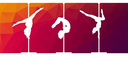 moves: Black silhouettes of female pole dancers performing pole moves on abstract background. Illustration