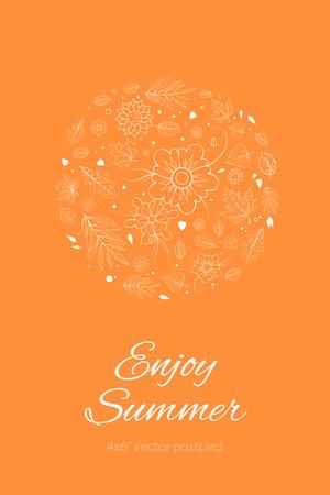 postcard design: Orange Spring or Summer Leaves and Flowers Design Template. 4x6 inches postcard design mockup. Colorful Spring Romantic Postcard. Illustration