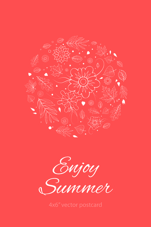 postcard design: Red Spring or Summer Leaves and Flowers Design Template. 4x6 inches postcard design mockup. Colorful Spring Romantic Postcard.