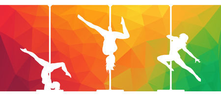 Silhouettes of pole dancers dancing contemporary dance on abstract polygonal background Illustration