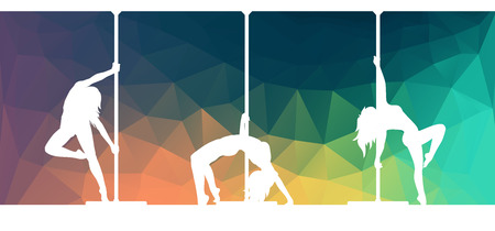 pole dance: Silhouettes of pole dancers dancing contemporary dance on abstract polygonal background Illustration